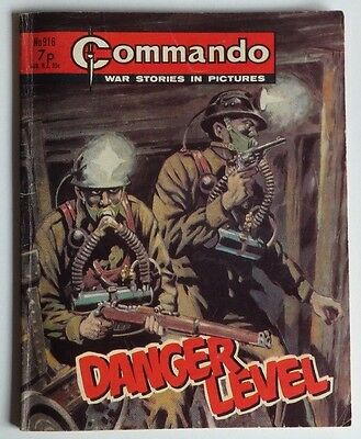 "COMMANDO Library War Stories in Pictures. # 916 ""Danger Level"" issued 1975."