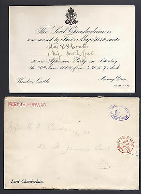 King Edward VII & Queen Alexandra Royal Invitation to Tory MP Major Coates 1908