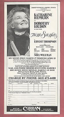 KATHARINE HEPBURN in THE WEST SIDE WALTZ with DOROTHY LOUDON vintage 1982 flyer