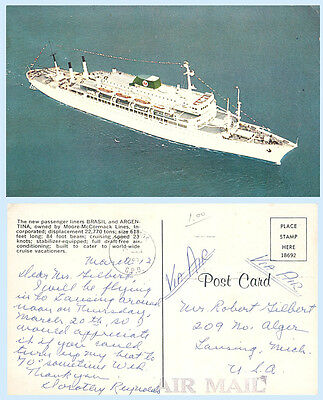 Cruise Ship Argentina or Brasil Moore McCormack Lines Advertising Postcard