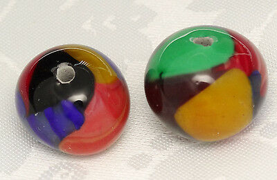 ART GLASS BEADS VINTAGE HAND MADE Fused Peacock CERAMIC MULTI COLORS