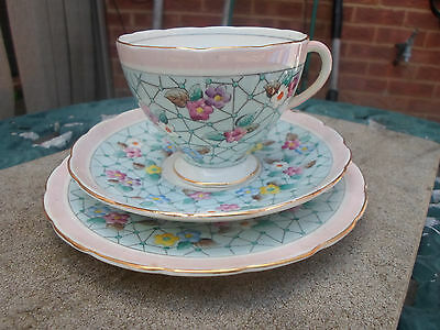 Vintage Foley China Hand Painted  Floral Trio Cup , Saucer , Plate