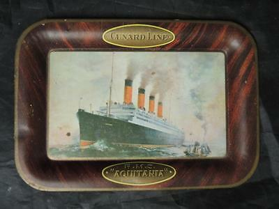 Antique Cunard Lines R.M.S. Aquitania Advertising Tip Tray