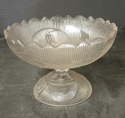 "Circa 1850 EAPG Flint Ribbed Bellflower Compote * Comport 4 1/2"" Tall"