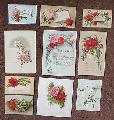 C3730 10 Victorian Greetings Cards: Carnations