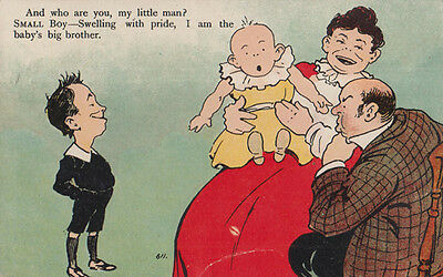 Baby Big Brother Swelling With Pride Antique Growing Up Comic Postcard
