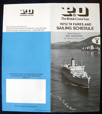 P&O 1973/1974 Brochure -- Sailing Schedules and Fares