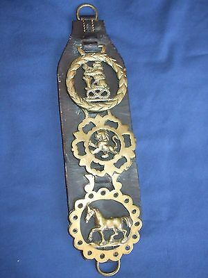 Antique Cast Horse Brass Medallions (3)  On Original Leather