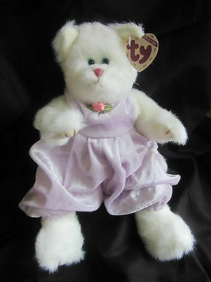 Adorable TY Attic Treasure 'AMETHYST' White Cat. NWT.
