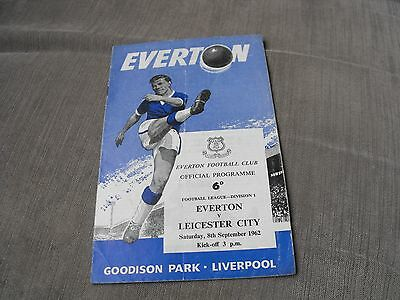 EVERTON v LEICESTER CITY 8/9/62, DIVISION 1