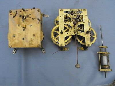 Two old striking clock movements for spares. New Haven & Perivale