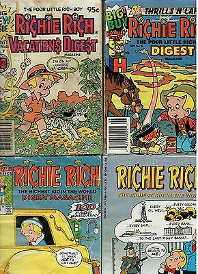 A Collection of 4 Richie Rich Comic Digests. Acceptable Reading Condition.