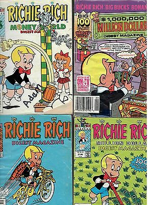A Collection of 4 Four Richie Rich Comic Digests. Acceptable Reading Condition.