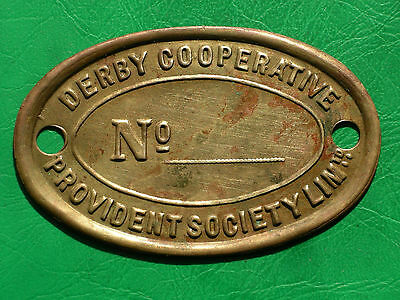 Large Derby Co-operative Provident Society brass badge or token co-op check