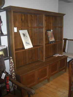 Large Arts and Crafts Oak Open Bookcase Over Cupboards