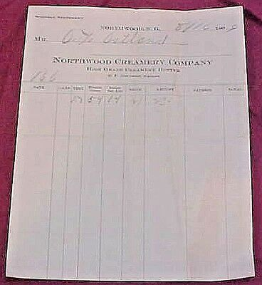 1909 Northwood ND Creamery Co Receipt North Dakota old paper ephemera FREE S/H