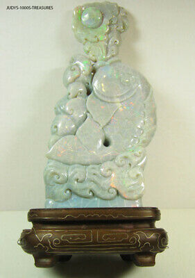 OPAL CARVING KOI FISH WITH WOODEN STAND 7.25 x 3.50 x 2 INCHES. OPAL 1,482.00ct.