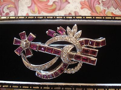 Beautiful Vintage 1950's; Bright Ruby Gems & Sparkling Diamonds 14CT Gold Brooch
