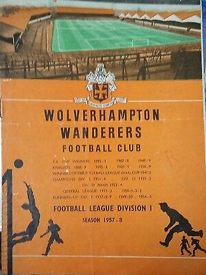 WOLVES RESERVES v PRESTON RESERVES 1957/8 WITH AUTOs