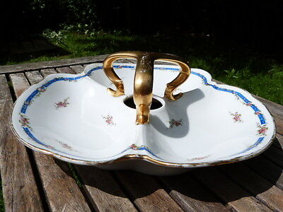 Lovely Rare Antique Vintage Limoges Ceramic Hors D' Oeuvres Trefoil Dish.