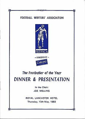 FWA Footballer of the Year dinner Menu 1993 - Chris Waddle Sheffield Wednesday