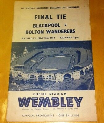 1953 Fa Cup Final Blackpool V Bolton Wanderers 2-5-53 (Very Good Condition)