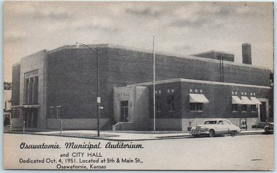 Osawatomie Kansas Postcard MUNICIPAL AUDITORIUM City Hall 5th & Main Street 1951