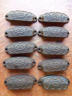 Ten Antique Fancy Ornate Iron Victorian Drawer Handles or Bin Pulls c1885