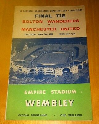 1958 Fa Cup Final Bolton Wanderers V Manchester United (Very Good Condition)