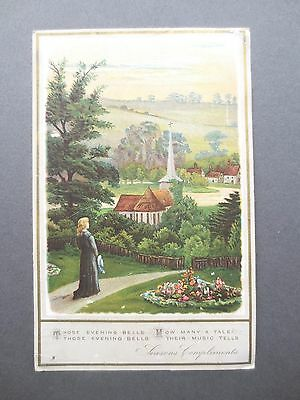 Antique CHRISTMAS Card Girl Looking at Church Evening Bells Victorian Chromo
