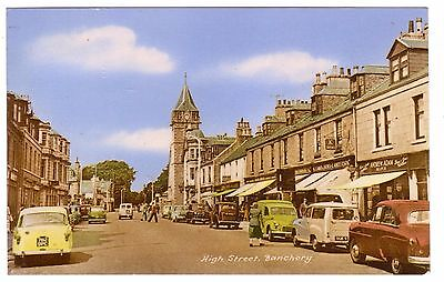 Early 60's Vintage, Banchory Shops & Cars in Old Format Tinted PPC, VG Used 1965