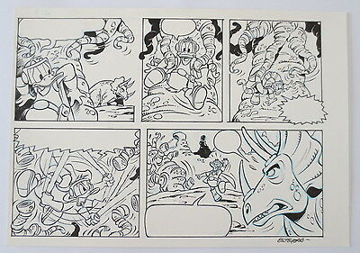 2 Paginas Original Art Disney Don Miki Donald Duck Anders And Por Esteban