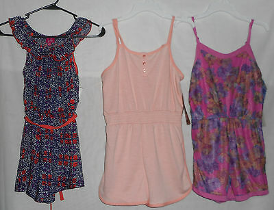 New Lot of Girls Size L 10/12 Rhompers One Piece Outfits Peach Pink Blue