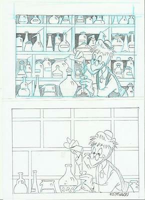 Pagina Original Comic Art Page Disney Tarconi Gyro Gearloose By Esteban