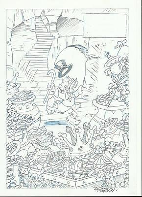 DRAWING PAGINA ORIGINAL ART PAGE DISNEY TIO GILITO SCROOGE Mc DUCK BY ESTEBAN