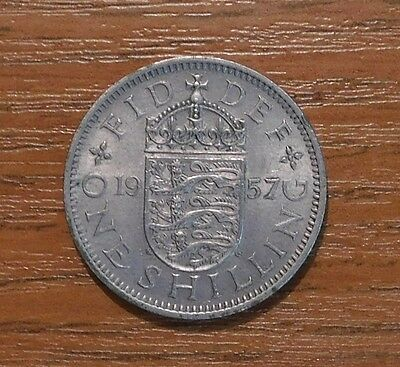 Queen Elizabeth Ii.  One Engish  Shilling Coin Dated 1957