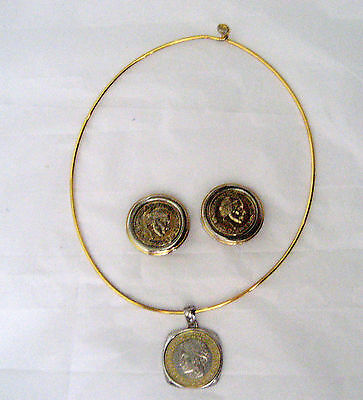 Italian Coin Set Necklace And Earrings Gold Tone Wire Necklace Clip On Earrings
