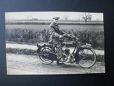 RPPC Motorcyle rider on Sunbeam Light Solo Motorbike Registration BE1937 1920's