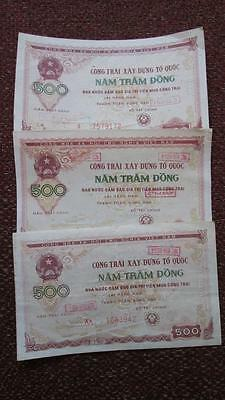 Vietnam Reconstruction Bond 500 Dong 1988-93, Lot of 3