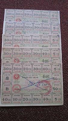 Vietnam Male Fabric Ration Coupon 1979, Lot of 5