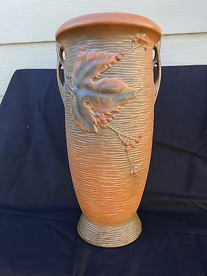 "Roseville Pottery Brown Bushberry Umbrella Stand 779-20"" Excellent Condition"