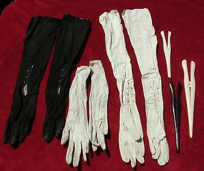 3 x PAIRS OF ANTIQUE LEATHER LADIES GLOVES + 3 x VICTORIAN GLOVE STRETCHERS