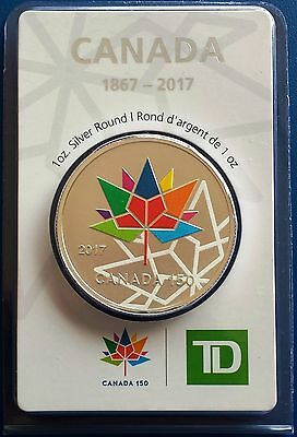 2017 Canada 150 Pure 999 1oz Silver Round - RCM & TD Bank - VERY RARE Great Gift