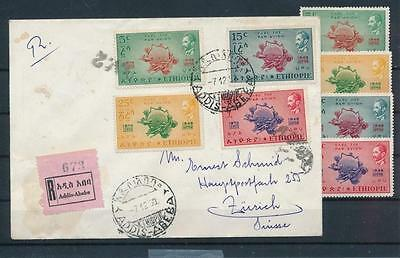 [G43906] Ethiopia 1949 UPU Good cover and set Very Fine MH stamps see photo