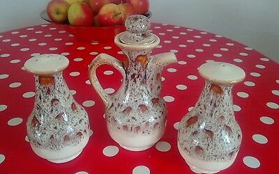 FOSTERS POTTERY Cornwall HONEYCOMB - CRUET SET Salt -Pepper - vinegar jug