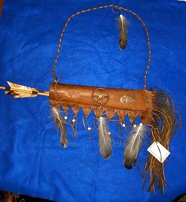 """Round 20"""" Fringed Leather Quiver w/ 2 Arrows Native American Navajo Lil Hawk #25"""