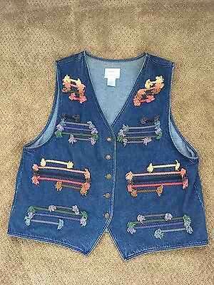 Hippy Boho Festival Quirky Denim Waistcoat With Colourful Rope Deco Vgc XL