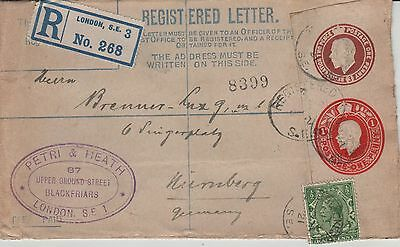 GB George V Registered cover RP32b 3d plus 1d add 1/2d Petri & Heath to Numberg.