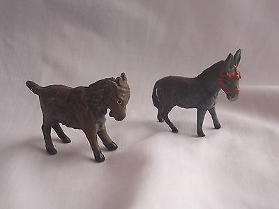 Small Group Antique /vintage Cold Painted Spelter Donkey With Halter & Goat