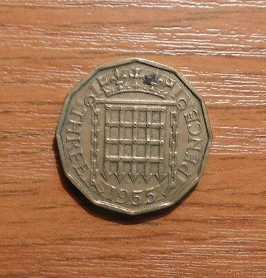 Queen Elizabeth Ii Three Pence Coin 1955